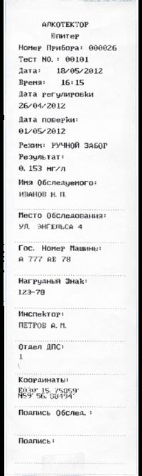 Юпитер - российский алкометр